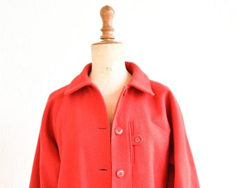 50s overcoat red wool coat French vintage midcentury modern fashion pierre d'alby pockets belt lining medium adult size FR 40 made in France