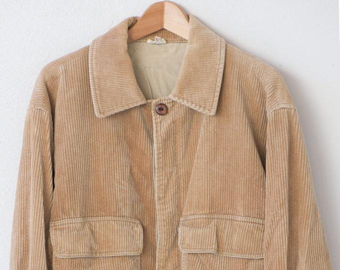 Featured listing image: 70s corduroy jacket French vintage sporting bomber style beige coat button down lined cotton Paul Boyé Made in France size 52 1970s