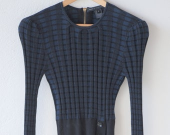 sweater dress vintage Marc by MARC JACOBS blue black pleat rib trim cotton plaid tartan tube above the knee long sleeve fitted body M 1990s