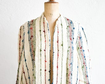 wool jacket French vintage colour crochet knit textured cream wavy lines and knots nomadic bohemian open cardigan long sleeve pockets rare