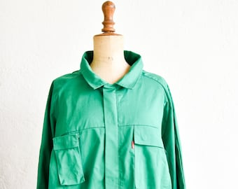 workwear French vintage Adolphe Lafont green chore jacket long sleeve zip front poly cotton unisex large adult size 4 made in France NOS 90s