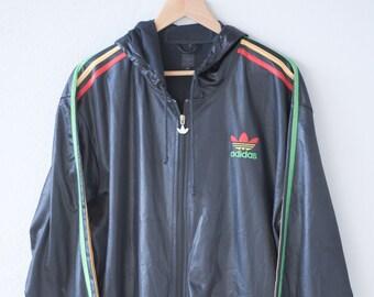 adidas jacket retro rasta chile 62 hoodie sweatshirt athletic track top black hood wet look brilliant shiny three stripes brand rare L 1990s