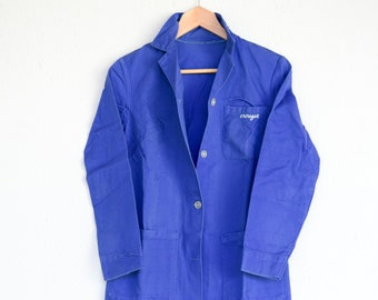 chore jacket French vintage work wear bleu de travail artisan CROUZET worker utility coat light industrial wear made in France c.1950s rare