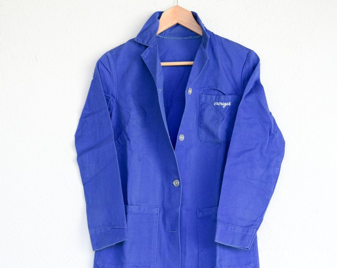 Featured listing image: chore jacket French vintage work wear bleu de travail artisan CROUZET worker utility coat light industrial wear made in France c.1950s rare