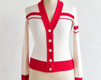 cardigan French vintage mod cream red button down jumper v neck small adult size cotton blend made in France 1960s