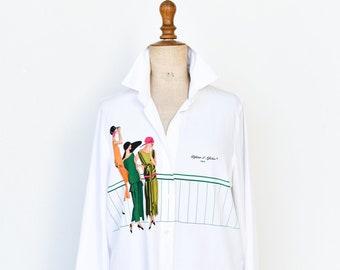 white shirt French vintage designer Defense D'afficher Paris long sleeve top unisex adult