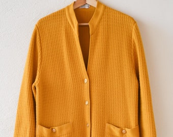 vintage cardigan long 3/4 length jumper coat French designer DEVERNOIS knitted retro fashion ochre gold buttons deep pockets made in France
