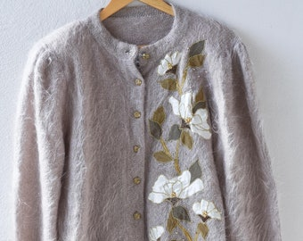 hand made mohair jumper bead embroidery French vintage inspired granny cardigan slouchy winter gift light beige floral motif one of a kind