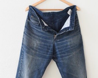 vintage jeans mid blue cotton denim workwear street jean W 34 L 32 straight leg fly zip kansas unisex adult clothing made in Ireland 1990s