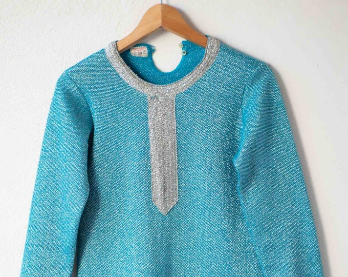 Featured listing image: shift dress 60s vintage French mod blue combed wool woven with silver metallic thread neck embellishment Mad Men fashion made in France rare