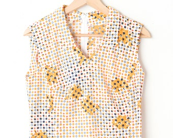 summer top sleeveless polka dot geometric orange white shirt collar French vintage polyester top adult size 40 medium made in France 1960s