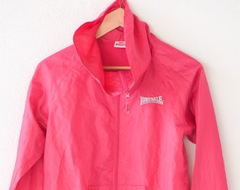 hot pink jacket shell suit tracksuit top LONSDALE LONDON vintage fitness sportswear high neck cotton polyester lined adult size small