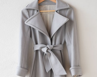 vintage overcoat princess dress coat French designer CASTEL grey wool structured double colour cuffs belt and full base made in Paris c1950s