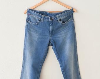 vintage WRANGLER flares bootcut jeans light blue cotton denim work streetwear W 30 L 32 fly zip Amanda unisex adult clothing made in Poland