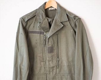 80s vintage army jacket VETIFLER FLERS 88C military green surplus customised with just do it tomorrow patch on back 1989