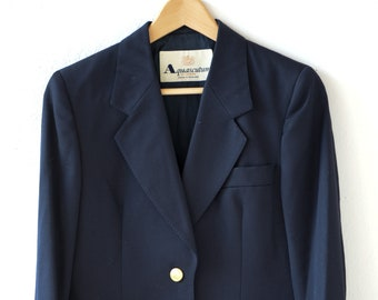80s blazer navy blue AQUASCUTUM of London English designer vintage single breasted gold button long sleeve wool jacket made in England rare