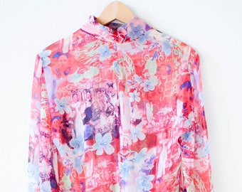 silk blouse vintage SHANGHAI TANG red blue mandarin long sleeve sheer chiffon chinoiserie revival top made in China 1990s adult size US 8
