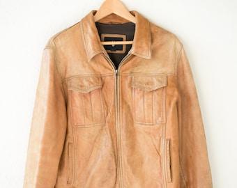 tan soft leather jacket OAKWOOD 80s French vintage veste en cuir adult unisex M