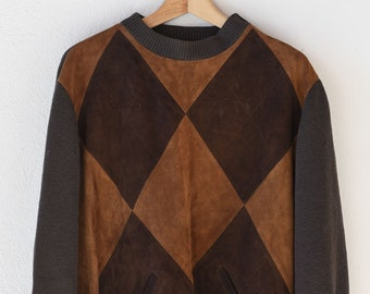 vintage suede argyle patchwork jumper fully lined midcentury modern French wool harlequin diamond two tone dark tan brown handmade OOAK rare