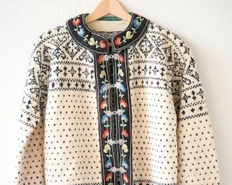 scandi vintage wool fair isle style jumper jacquard ribbon trim hand embroidery cream winter knit cardigan jacket crew collar rare OOAK