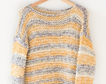 handmade jumper mustard yellow white chunky stripey soft knit acrylic blend slouchy pullover long sleeve hand knitted French medium OOAK