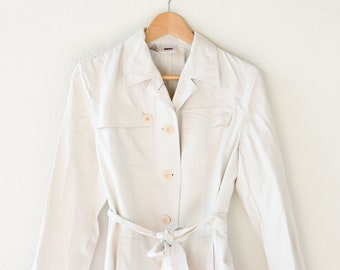 vintage short trench coat jacket DKNY designer stone colour belt long sleeve safari cotton 3/4 above the knee small adult size 6 small 1990