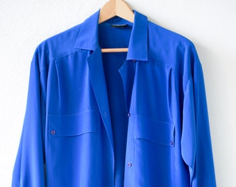 80s blouse electric blue vintage sheer shirt JACQUES VERT adult size 10 long sleeve collar polyester made in England c.1980s
