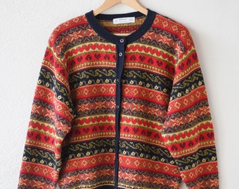80s cardigan St Michaels English vintage red pattern slouchy gilet anglais long sleeve retro acrylic knit sweater jumper adult UK 18 EU 46