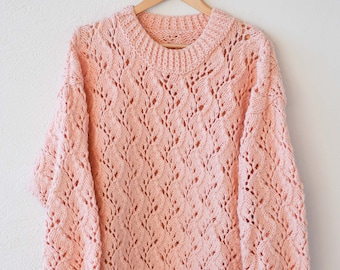 oversize chunky knit pink cut out long crew neck sweater wool blend pullover jumper vintage handmade knitted crochet made in France 90s OOAK