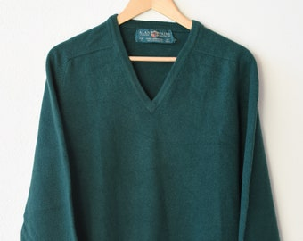 jumper vintage Alan Paine green pure lambswool v neck long sleeve pullover english country classic knitwear size EU 52 made in Great Britain