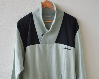 vintage adidas sweat French ventex three stripes black pale green retro sportswear unisex adult pullover size 180 made in France 1980s rare