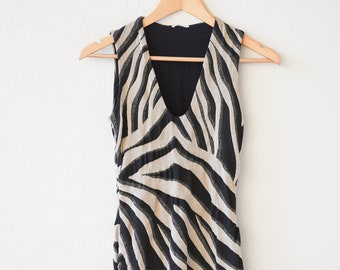 animal print dress deep v neck fitted body hugging sexy lined sleeveless cocktail part dress tiger motif vintage Wolford designer 1990s