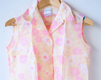 vintage flower power pink yellow floral transparent sleeveless top blended polyester tergal wing collar DONATELLA made in France size 40 70s