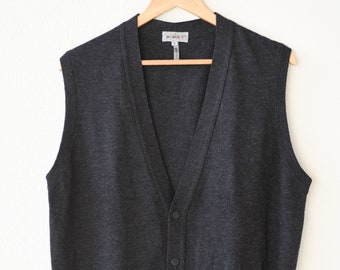 waistcoat RODIER HOMMES anthracite grey wool blend gilet laine sleeveless cardigan button down knit made in Italy size 5 designer fashion