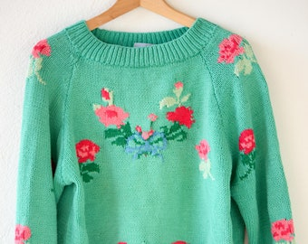 80s english vintage pullover jumper In-Wear Tricot cotton sweater green red floral colours crew neck long sleeve adult small made in UK rare