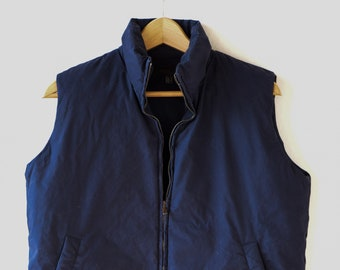 body warmer grey duck down feather sleeveless vest vintage dark blue Nicole Farhi Diversion adult size small UK 8 USA 4 EUR 34 cotton 1990s
