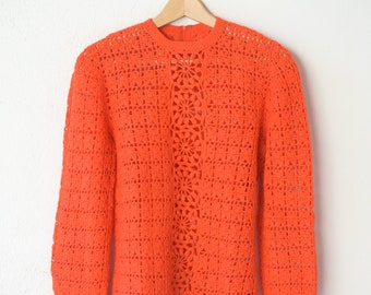 electric orange jumper French vintage handmade crochet sweater zip back long sleeve see through knitwear 1960s summer fashion