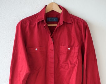 80s red vintage shirt BRUCE OLDFIELD for Hilditch & Key dark cherry red cotton UK8 USA6 EUR34 made in England c.1980s