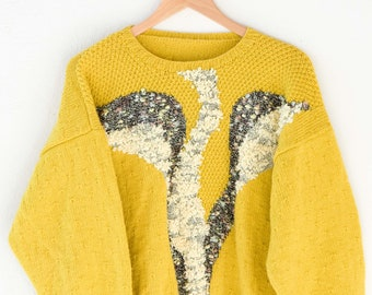 handmade jumper mustard yellow soft acrylic blend textured front panels hand knit French pullover sweater round neck long sleeve OOAK medium