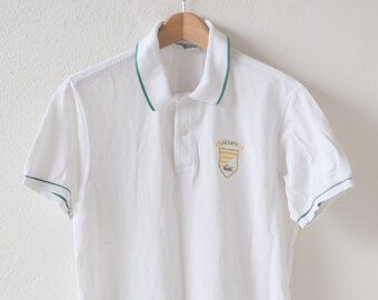 sports shirt French vintage LACOSTE Devanlay polo aertex tennis style top short sleeve white cotton with green trim patch c1990s