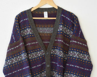 80s cardigan patterned slouchy oversize vintage gilet long sleeve retro Italian acrylic wool blend knit sweater retro jumper adult fashion