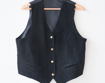 80s waistcoat black suede vest brass tone buttons belt sleeveless gilet noir retro French steampunk fashion genuine croûte de porc pig skin