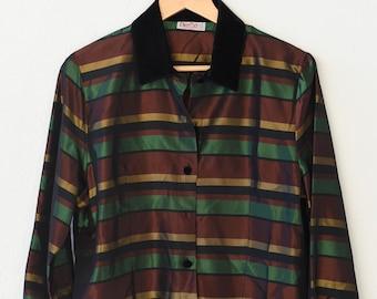 80s fashion vintage blouse silk touch acetate green black gold stripe french mod design Pierbé retro shirt velvet collar made in France rare