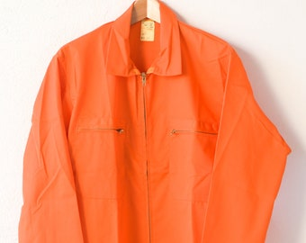 french vintage workwear orange utility chore sports jacket MACOBER cotton blend made in France 1970s new old stock NOS adult size M