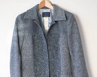 CHRISTIAN LACROIX Jeans vintage blue tweed denim overcoat mix material texture 3/4 length lined designer fashion size 38 made in Italy rare
