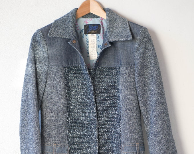 Featured listing image: CHRISTIAN LACROIX Jeans vintage blue tweed denim overcoat mix material texture 3/4 length lined designer fashion size 38 made in Italy rare