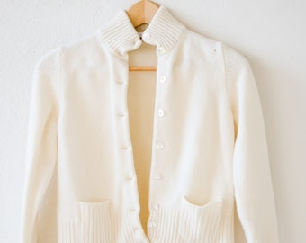 cardigan Italian vintage cream pure cashmere knit SUMMERTIME pockets high collar pearlised buttons extra small adult size made in Italy 90s