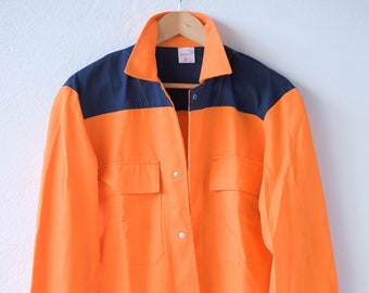 80s french vintage workwear orange blue utility chore sports jacket KLOPMAN Challenger cotton polyester blend stamped 1987  NOS adult size 2