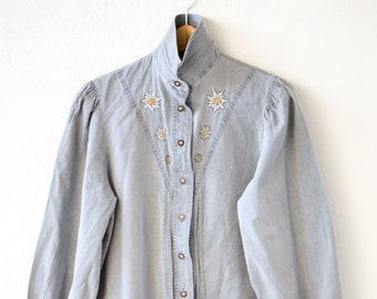 80s shirt grey blue vintage denim style yellow flower embroidery FUCHS fashion top button down long sleeve made in Austria adult size 38