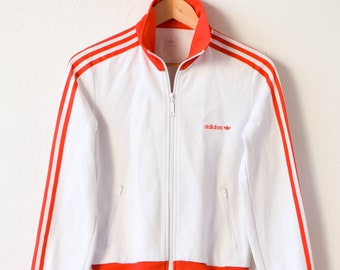 adidas jacket vintage retro white red three stripes trefoil track top long sleeve size 40 M unisex athletic sportswear made in Indonesia 90s